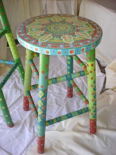 Fun handpainted sturdy wooden stool, the shorter one of two. Clear coated several times for normal wear and tear of daily use. Foot rungs may show Bright Painted Furniture, Hand Painted Furniture, Funky Furniture, Refurbished Furniture, Paint Furniture, Furniture Projects, Furniture Makeover, Painted Bar Stools, Wooden Stools
