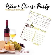 Wine + Cheese Pairing - Printable Score Sheet