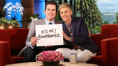 Matt Bomer making his first Tweet with Ellen