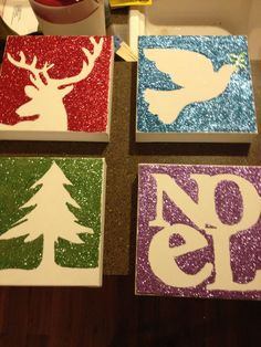 use plywood or foam board to either 1. use a printed image to make a void, spray with spray glue, remove image, and add glitter OR 2. paint a picture with glue and then apply glitter