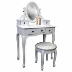 Amazon.com: White Vanity Table Set Jewelry Armoire Makeup Desk Bench Drawer: Home & Kitchen