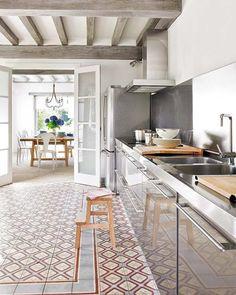 Houten balken in de keuken