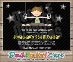 Gymnastics Boy V2 Party Invitation -  DIY PRINTABLE Digital Invitation. £5.30, via Etsy.