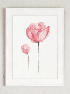 Peonía Shabby Chic acuarela regalo para ella. Rosa vivero pared Floral decoración salón ilustración. Set de tres flores. Dormitorio de cartel de 3 láminas. Decoración de la habitación del bebé niña de peonías. Un precio es para el conjunto de tres láminas de peonía en el primer