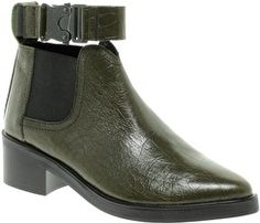 Won Hundred Three Green Ankle Strap Boots | styloko.com