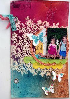 beautiful fabric page by Marie-Nicolas #scrapbook