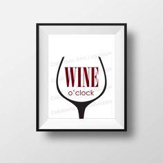 Affiche imprimable Wine o'clock 8x10, Wine o'clock printable poster,wall art decoration l'heure du vin, citation quote decor à imprimer Wine O Clock, Etsy, Decoration, Printable, Wine, Event Posters, Quote, Decor, Dekoration