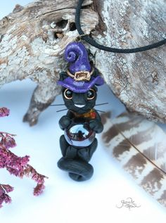 Witch cat pendant - black cat jewelry - black cat necklace - harry potter jewelry - wicca cat amulet - witch hat - polymer clay - ooak - polymer clay fimo art - by GloriosaArt