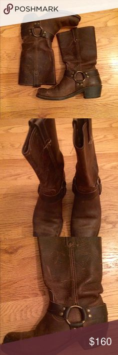 Frye brown leather boots Great Frye Soletech brown leather boots in great used condition! Worn only a few times. Classic boots that never go out of style. Style is to look distressed Frye Shoes Heeled Boots