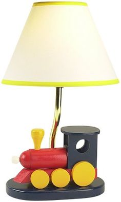 CHILDREN'S WOODEN TRAIN TABLE LAMP   - Click image twice for more info - See a larger selection of kids table lamps at http://tablelampgallery.com/product-category/kids-table-lamps/ - home, home decor, home ideas, desk lamp , gift ideas, lightning, lamp, kids lamp