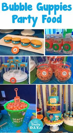 Great Under the Sea themed party food and dessert! The Daily DIYer: Bubble Gupp. Great Under the Sea themed party food and dessert! The Daily DIYer: Bubble Guppies Party: Food Bubble Birthday, Bubble Party, Mermaid Birthday, 3rd Birthday Parties, Birthday Fun, Birthday Ideas, Special Birthday, Kid Parties, Frozen Birthday