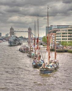 ✮ Thames Barges and Tower Bridge - London, England