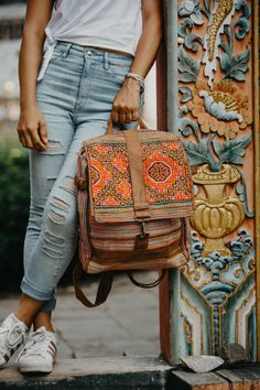 Handcrafted Backpack with Vintage Hmong Embroidered Fabric, One of a Kind Bookbag, Ethnic Backpack, Tribal Backpack from Thailand Hippie Backpack, Tribal Bags, Latest Bags, Boho Bags, Cute Bags, Purses And Handbags, Leather Purses, Fashion Backpack, Backpacks