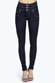 Abby High Rise Super Skinny 3 Button Jeans at boohoo.com