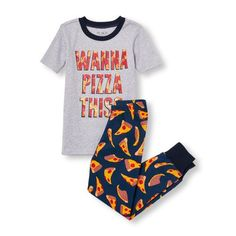 Baby Boys Boys Short Sleeve 'Wanna Pizza This?' Graphic Top And Printed Pants Pj Set - Gray - The Children's Place