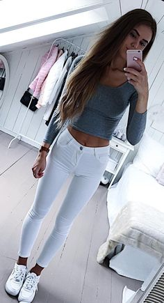 #spring #outfits Grey Crop Top + White Skinny Jeans + White Sneakers