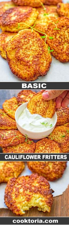 Healthy Meals Simple and very tasty, this kid-friendly Basic Cauliflower Fritters recipe is a must-have for any housewife.COM - Simple and very tasty, this kid-friendly Basic Cauliflower Fritters recipe is a must-have for any housewife. Cauliflower Fritters, Cauliflower Patties, Cauliflower Breadsticks, Veggie Fritters, Broccoli Fritters, Fat Burning Foods, Vegetable Dishes, Junk Food, Vegetable Recipes