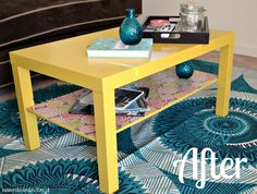 coffee table makeover, but not such a bright color