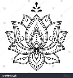 Mehndi Lotus flower pattern for Henna drawing and tattoo. - Mehndi Lotus flower pattern for Henna drawing and tattoo. Decoration in ethnic oriental, Indian sty - Henna Drawings, Flower Tattoo Drawings, Flower Tattoo Designs, Flower Tattoos, Lotus Drawing, Mandala Drawing, Lotus Design, Mandala Design, Henna Patterns