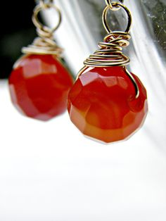 Red Agate Earrings Fire Agate Jewelry Wire by ContradictionsJC, $16.50