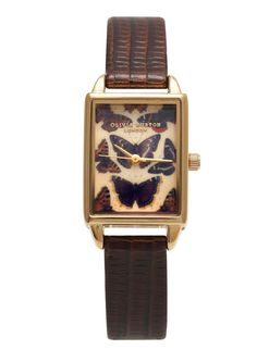 Olivia Burton Woodland Multi Butterfly Watch in Cognac