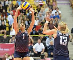 USA's Alisha Glass (1) sets the ball for Christa Dietzen (13) against Germany in a FIVB World Grand Prix volleyball game at the Pyramid Friday, June 17, 2016, Long Beach, CA. Photo by Steve McCrank/Staff Photographer