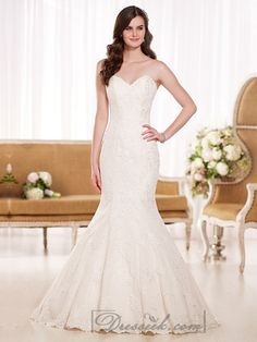 This stunning corded Lace fit-and-flare gown from Lightindreaming wedding dresses 2015 collection features a strapless sweetheart neckline, fitted low bodice, a scalloped Lace hemline and hand-sewn crystal beading throughout. If you want a wedding dress that will elongate your figure and accentuate your sexy, hourglass curves, this dress is the perfect choice.