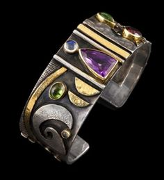 """LINDA LADURNER Bracelet """"Nocturne"""" 2012  Silver, gold, amethyst, green and pink tourmaline, moonstone."""