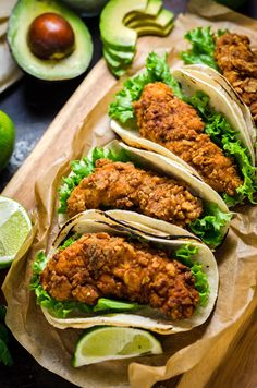 Crispy Chicken Tacos with Avocado Buttermilk Ranch - Host The Toast I'm not sure of the technical I Love Food, Good Food, Yummy Food, Great Recipes, Dinner Recipes, Comida Latina, Cooking Recipes, Healthy Recipes, Kebabs