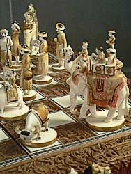 Sandalwood and Ivory Chess Set India 19th century C.E. Photo By Mary Harrsch. Collection of Maryhill Museum of Art.