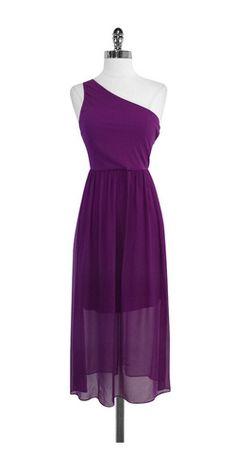 Alice & Olivia Purple Silk One Shoulder Maxi Dress