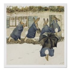 """thebeldam: """" The Rabbits' Christmas Party - The Arrival - Beatrix Potter The first of a series of six watercolour sketches from among Potter's finest work. This particular illustration -. Beatrix Potter Illustrations, Lapin Art, Christmas Party Poster, Christmas Parties, Beatrice Potter, Peter Rabbit And Friends, Rabbit Art, Bunny Art, Watercolor Sketch"""