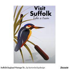 Suffolk England Vintage Travel Art Poster