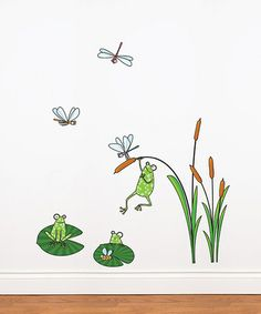 Frog Wall Decal by mur*mur ~~ Bring a bit of the garden into any bedroom or playroom with this wall decal set that provides an instant makeover. Easy to apply to any clean and smooth surface, these decals are simple to remove and will not leave any residue, even after many years of use.