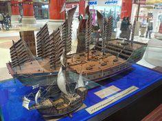 Zheng He's Treasure Ships: Model comparing Zheng He's treasure ships with Columbus's flagship, the Santa Maria.
