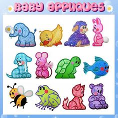 Baby Applique Machine Embroidery Collection -- idea -- use these as centers in a double irish chain or simple nine patch