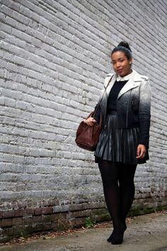 Robinson | Style : OMBRE MOTO   featuring: Gap jacket, ASOS skirt, Zara shoes, Madewell satchel