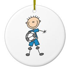 Boy Blue Uniform Stick Figure Soccer Player Gifts Christmas Tree Ornament