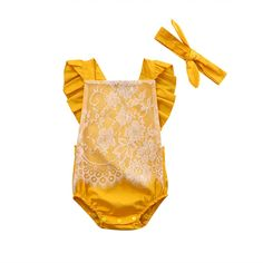 Newborn Baby Girls flying sleeves Romper Lace Jumpsuit Clothes With Headband Outfits Clothing