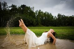 trash the dress - love the mud spray and her pointed toes!