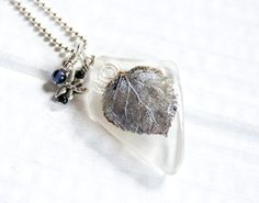 Silver Aspen Leaf Pendant Recycled Beach by HopeFilledJewelry