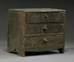Miniature Green-painted Pine Three-drawer Bureau, probably New England, early century (dead link. Types Of Furniture, Small Furniture, Miniature Furniture, Painted Furniture, Furniture Projects, Primitive Furniture, Primitive Antiques, Country Furniture, Primitive Cabinets