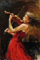 THE PASSION OF MUSIC Hand Embellished Giclee on Hand-Textured Canvas 36 x 24 Edition Size: 95 by Andrew Atroshenko