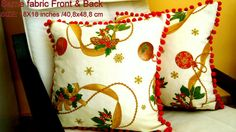 Christmas wreaths and balls 18x18 pillow cover  Red by SABDECO