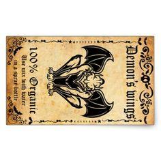 Vintage sticker Demon's wings Rectangular Sticker - Halloween happyhalloween festival party holiday