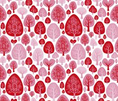 Cool fall autumn woodland forest trees scandinavian garden nature pink fabric surface design by Little Smilemakers on Spoonflower - custom fabric and wallpaper inspiration
