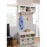 Storage for hats/gloves/scarves and girls's coats Storage Bench With Cushion, Entryway Bench Storage, Coat Storage, Cubby Storage, Dinning Room Bench, Cube Organizer, Hanging Shelves, Better Homes And Gardens, Storage Solutions