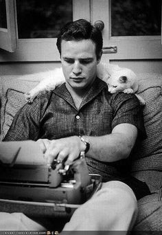 Marlon with his kitty getting some writing time in.