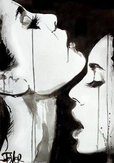 """Saatchi Art Artist Loui Jover; Drawing, """"friends"""" #art"""