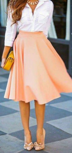 White buttons down shirt with flowy peach skirt business attire work outfit c Work Fashion, Cute Fashion, Spring Fashion, Fashion Outfits, Pear Shape Fashion, Casual Outfits, Women's Fashion, Feminine Fashion, Fashion Weeks